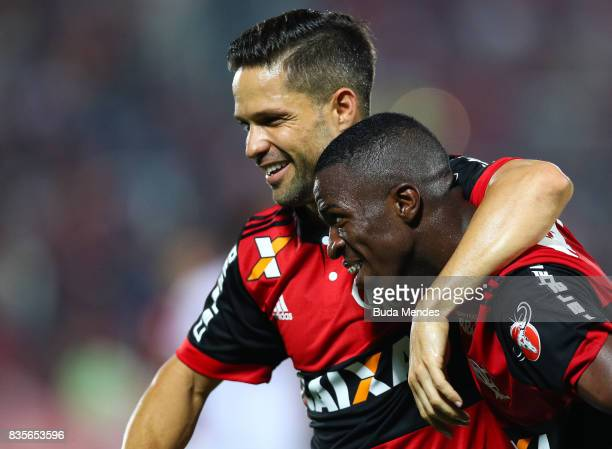 Vinicius Junior and Diego of Flamengo celebrate a scored goal during a match between Flamengo and Atletico GO part of Brasileirao Series A 2017 at...