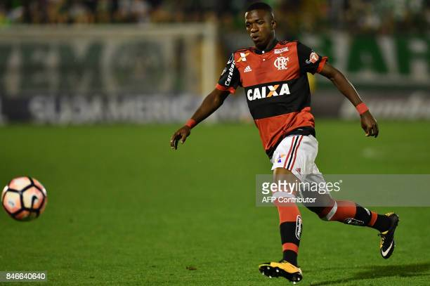 Vinicius Junior of Brazil's Flamengo eyes the ball during their 2017 Copa Sudamericana football match against Brazils Chapecoense held at Arena Conda...