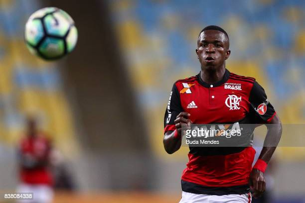 Vinicius Junior of Flamengo looks the ball during a match between Flamengo and Botafogo part of Copa do Brasil SemiFinals 2017 at Maracana Stadium on...