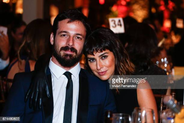 Vinicius Longato and Fernanda Paes Leme attends 2016 amfAR Inspiration Gala on April 27 2017 in Sao Paulo Brazil