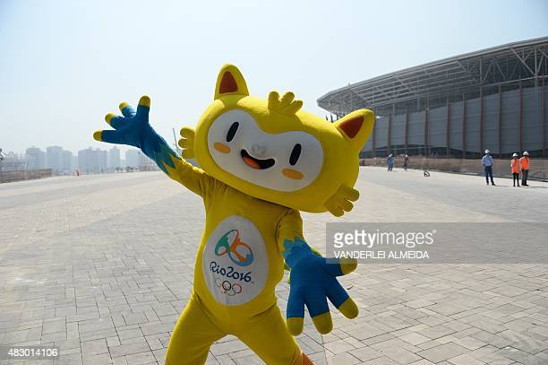 Vinicius the mascot of the Rio 2016 Olympic Games poses at the Olympic Park in Rio de Janeiro Brazil on August 5 one year before the start of the...