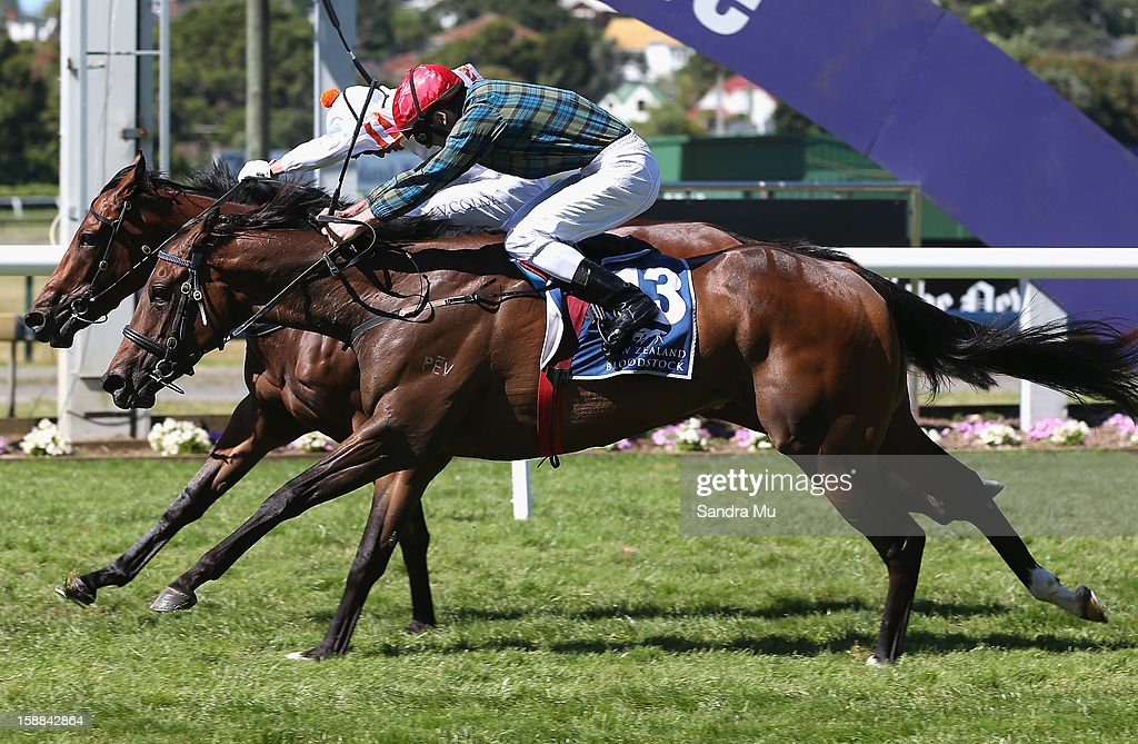 Vinnie Colgan rides Fix to win by a nose ahead of Jonathan Riddell riding Kidwelly (13) during the New Zealand Bloodstock Royal Stakes at Ellerslie Racecourse on January 1, 2013 in Auckland, New Zealand.