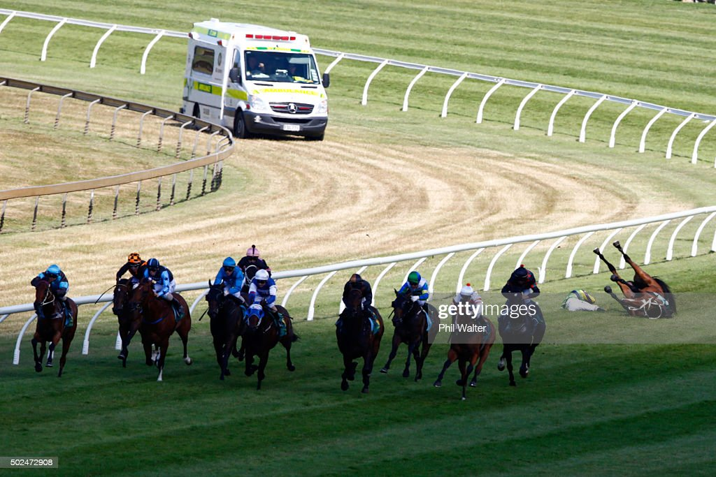 Vinnie Colgan tumbles off Sofia Rose in the Cambridge Stud Eight Carat Classic during the Boxing Day races at Ellerslie on December 26 2015 in...