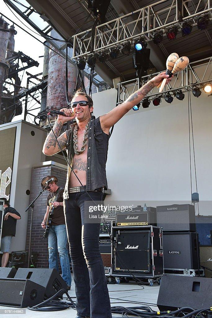 Vinnie Dombroski of the band Sponge performs during the Summerland Tour at SteelStacks Levitt Pavillion on July 20 2016 in Bethlehem Pennsylvania