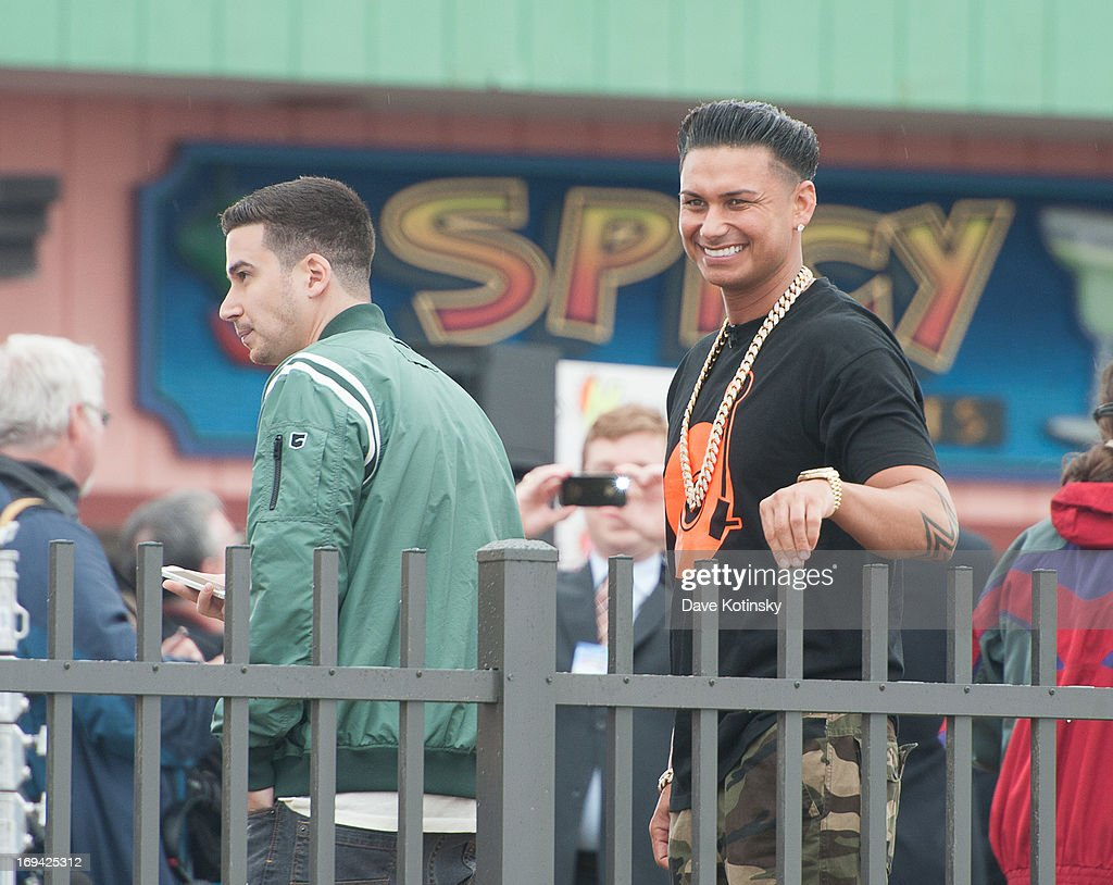 Vinnie Guadagnino and Pauly D DelVecchio on NBC's 'Today' at Seaside Heights on May 24, 2013 in Seaside Heights, New Jersey.