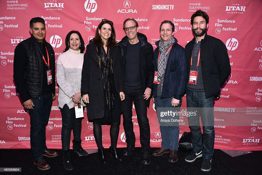 Vinnie Malhotra Amy Entelis Amy Ziering Kirby Dick Tom Quinn and Jason Janego of Radius attend 'The Hunting Ground' premiere during the 2015 Sundance...