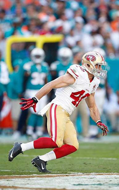 ... Vinnie Sunseri 42 of the San Francisco 49ers defends during the game  against the Miami ... b50faa34a