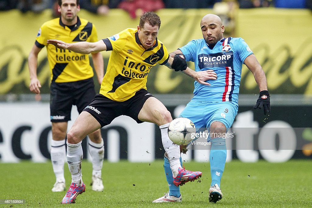 Vinnie Vermeer of NAC Breda Samuel Armenteros of Willem II during the Dutch Eredivisie match between NAC Breda and Willem II at the Rat Verlegh...