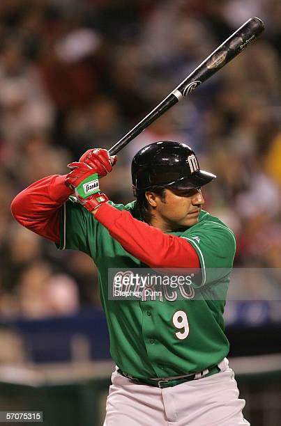 Vinny Castilla of Team Mexico bats against Team Korea during the Round 2 Pool 2 Game of the World Baseball Classic at Angel Stadium on March 12 2006...