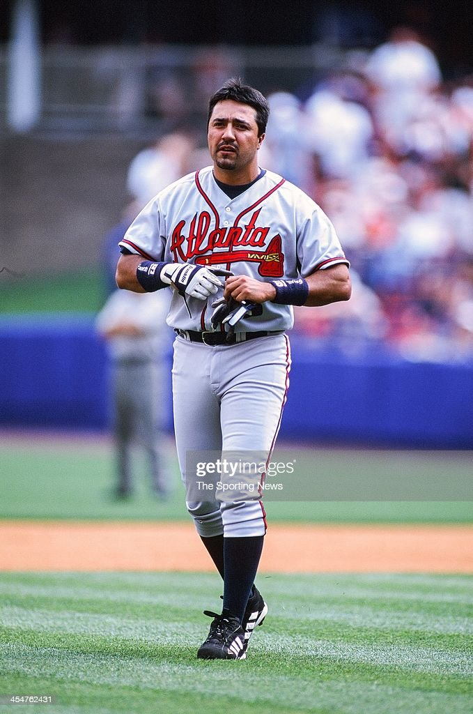 Vinny Castilla of the Atlanta Braves during the game against the New York Mets on April 17 2002 at Shea Stadium in Flushing New York