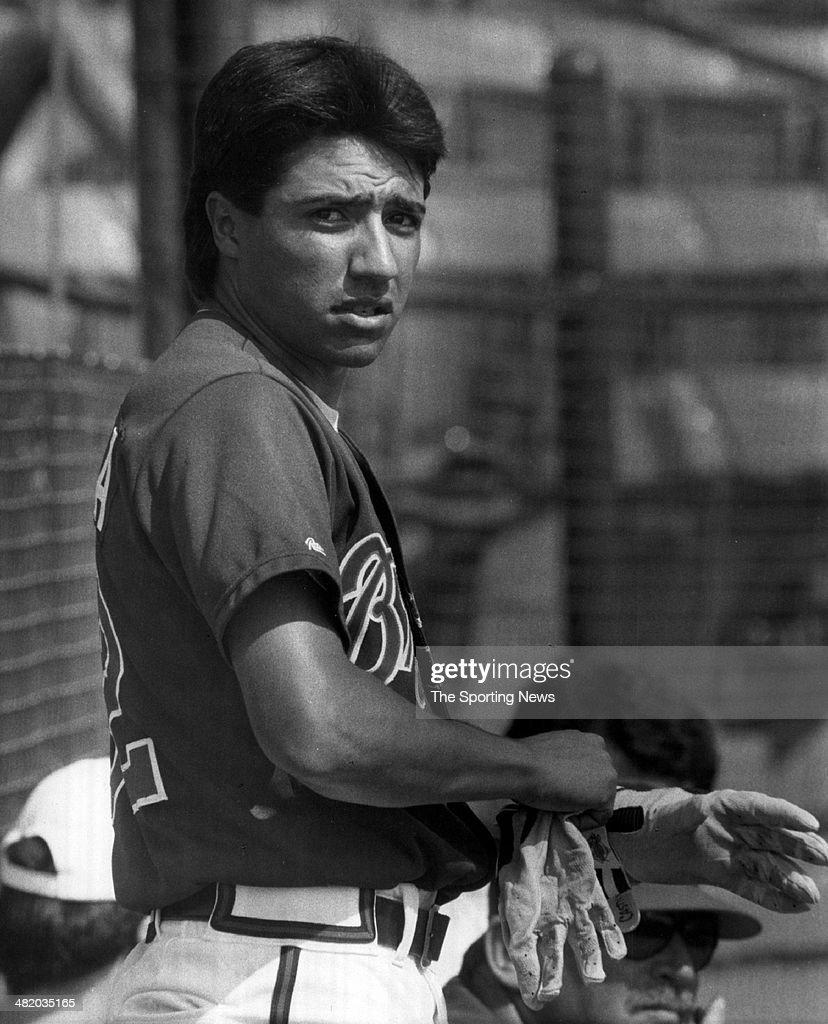 Vinny Castilla of the Atlanta Braves looks on circa 1990s