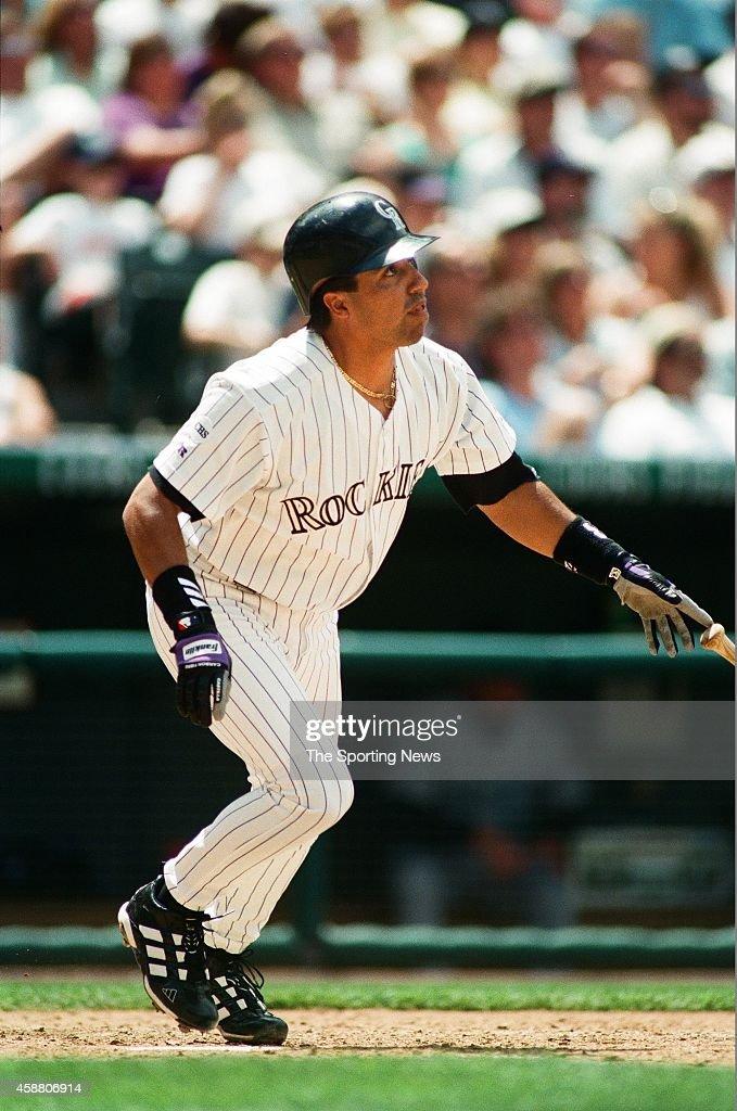Vinny Castilla of the Colorado Rockies bats against the Arizona Diamondbacks at Coors Field on May 22 1999 in Denver Colorado