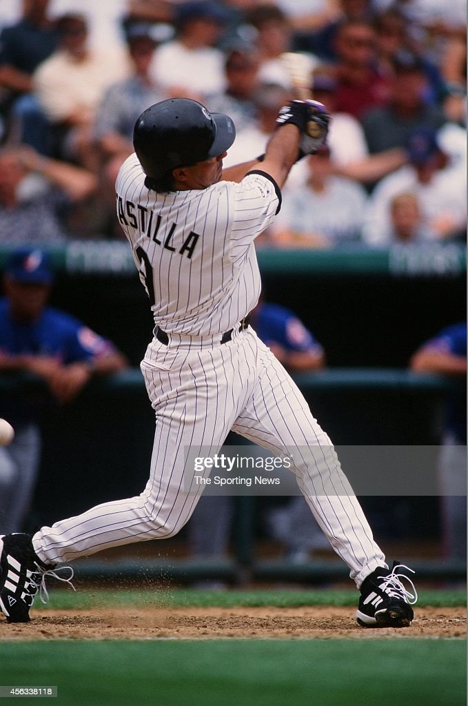 Vinny Castilla of the Colorado Rockies bats against the Montreal Expos at Coors Field on August 15 1999 in Denver Colorado