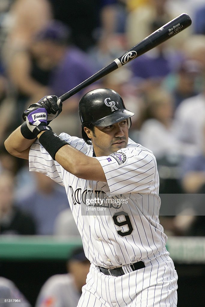 Vinny Castilla of the Colorado Rockies bats against the New York Mets on August 17 2004 at Coors Field in Denver Colorado The Rockies won 64