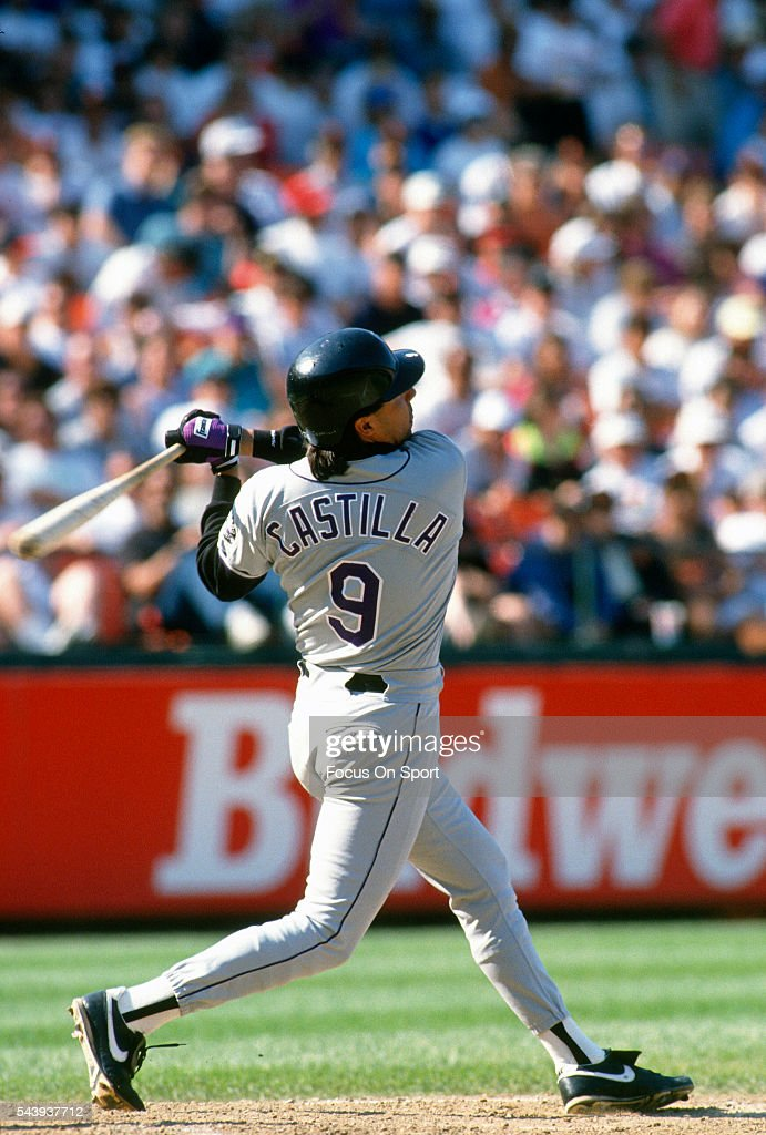 Vinny Castilla of the Colorado Rockies bats against the San Francisco Giants during a Major League Baseball game circa 1993 at Candlestick Park in...