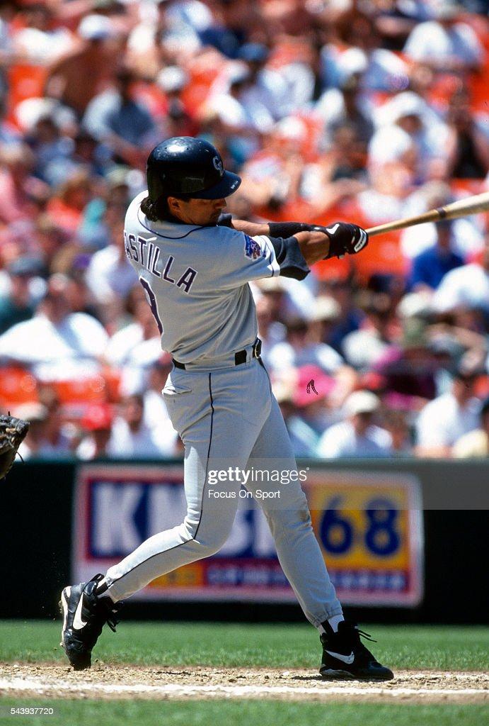 Vinny Castilla of the Colorado Rockies bats against the San Francisco Giants during a Major League Baseball game circa 1997 at Candlestick Park in...