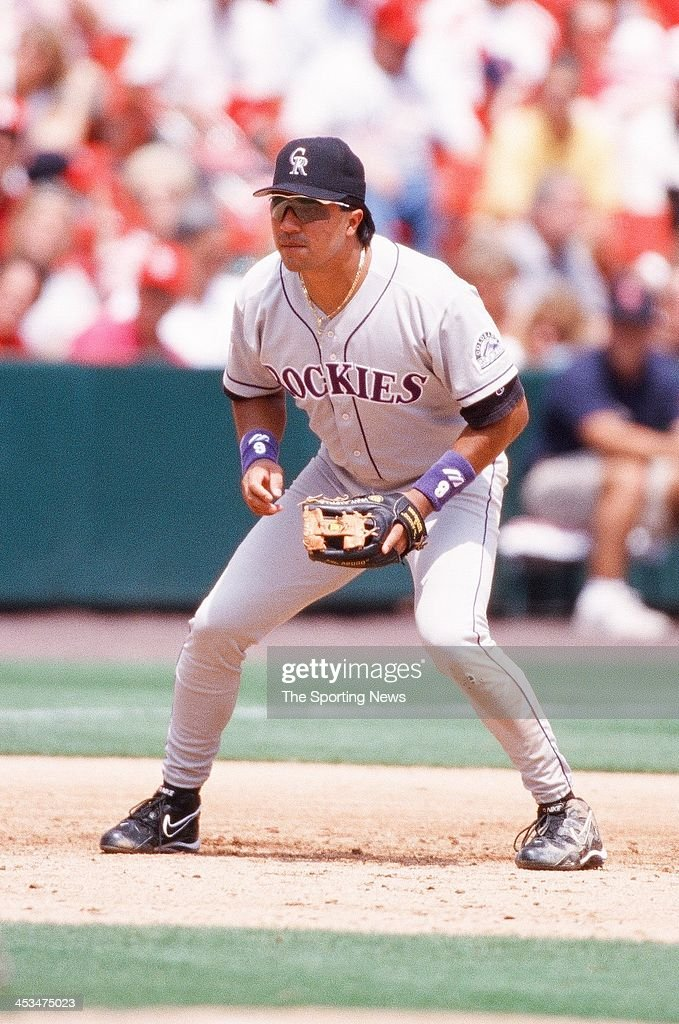 Vinny Castilla of the Colorado Rockies during the game against the St Louis Cardinals on May 28 1998 at Busch Stadium in St Louis Missouri
