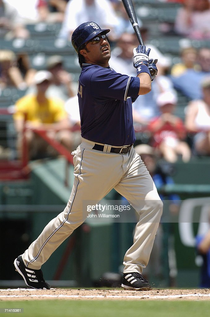 Vinny Castilla of the San Diego Padres bats during the game against the Texas Rangers at Ameriquest Field in Arlington on June 22 2006 in Arlington...