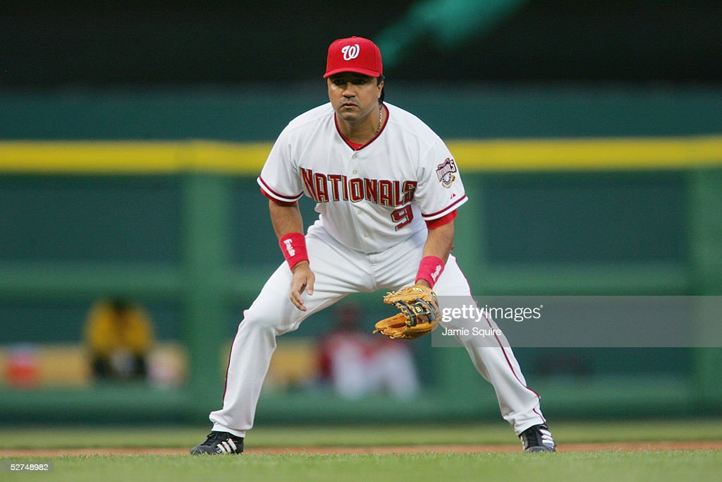 Vinny Castilla of the Washington Nationals readies for the play against the Philadelphia Phillies during the game on April 26 2005 at RFK Stadium in...