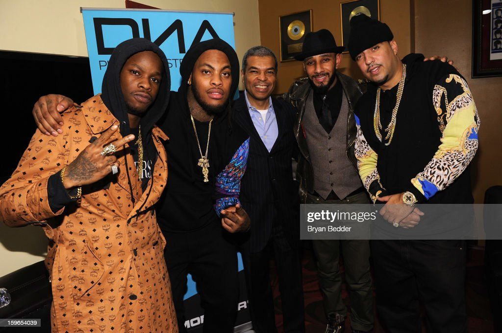 Vinny Chase, Waka Flocka Flame, Paul Cothran, Swizz Beatz, and French Montana attends VH1 Save The Music Foundation's Songwriters Music Series Remix featuring Swizz Beatz & Friends, presented by Monster DNA Headphones & William Hill Estate Winery at Hard Rock Cafe New York on January 17, 2013 in New York City.