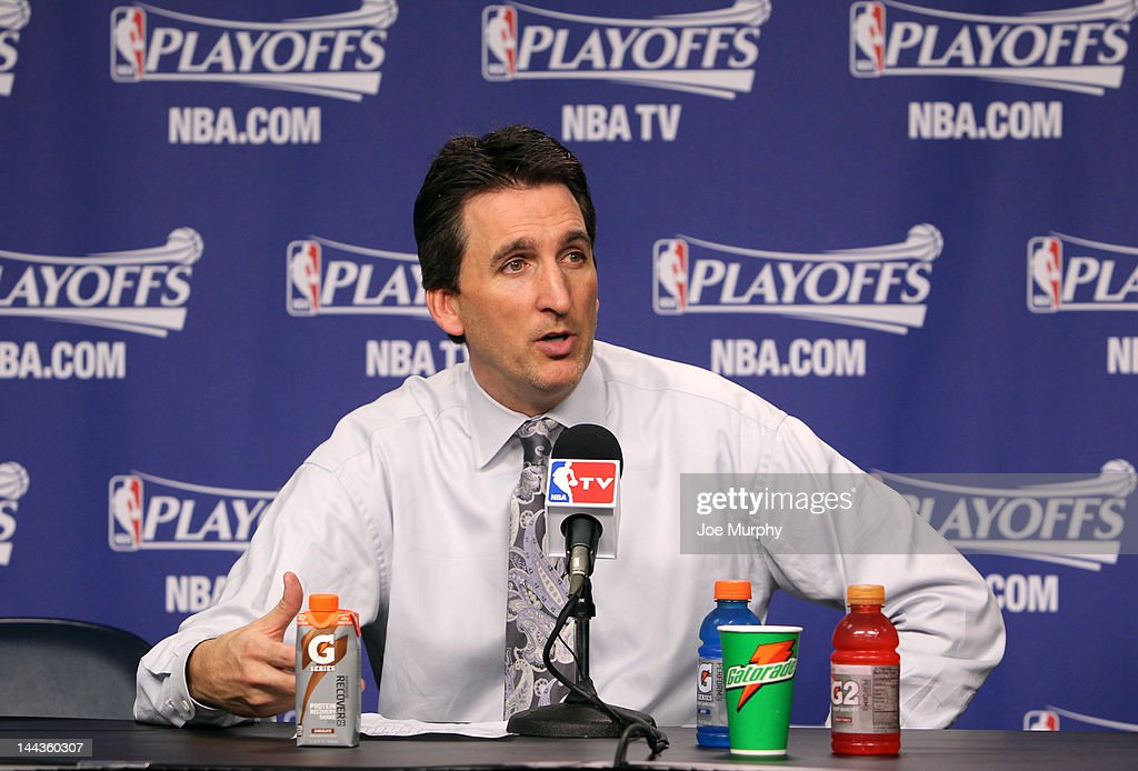 Vinny Del Negro , Head Coach of the Los Angeles Clippers speaks to the media after the Los Angeles Clippers defeated the Memphis Grizzlies in Game Seven of the Western Conference Quarterfinals during the 2012 NBA Playoffs on May 13, 2012 at FedExForum in Memphis, Tennessee.