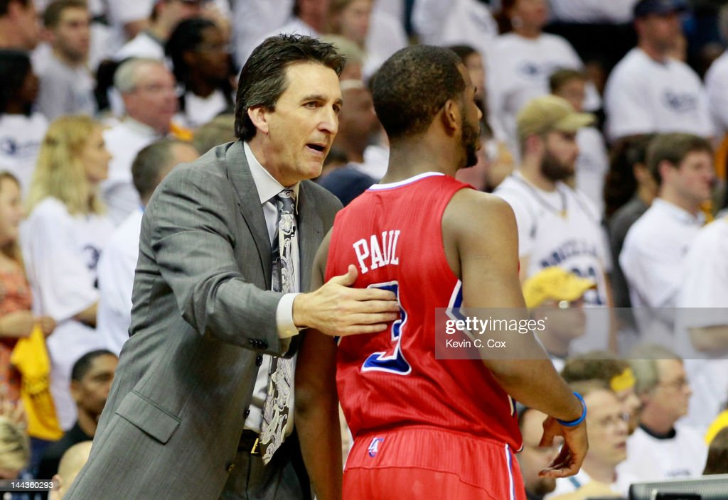 Vinny Del Negro of the Los Angeles Clippers converses with Chris Paul #3 against the Memphis Grizzlies in Game Seven of the Western Conference Quarterfinals in the 2012 NBA Playoffs at FedExForum on May 13, 2012 in Memphis, Tennessee.