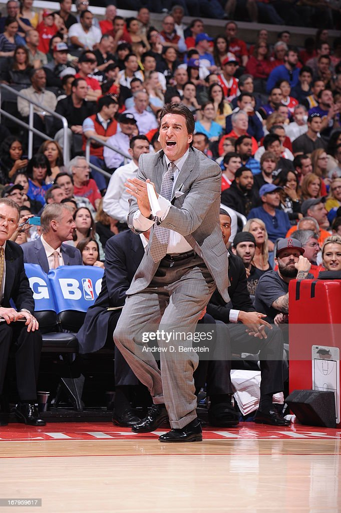 <a gi-track='captionPersonalityLinkClicked' href=/galleries/search?phrase=Vinny+Del+Negro&family=editorial&specificpeople=2115024 ng-click='$event.stopPropagation()'>Vinny Del Negro</a> of the Los Angeles Clippers yells from the bench during the game against the Los Angeles Lakers at Staples Center on April 7, 2013 in Los Angeles, California.