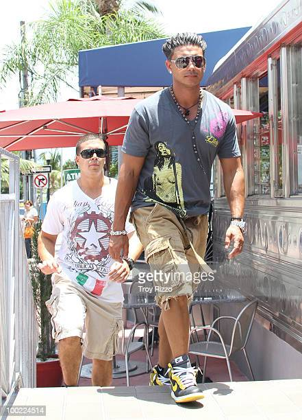 Vinny Guadagnino and Paul 'Pauly D' Del Vecchio are seen filming 'Jersey Shore' during the last day of filming in Miami Beach on May 21 2010 in Miami...