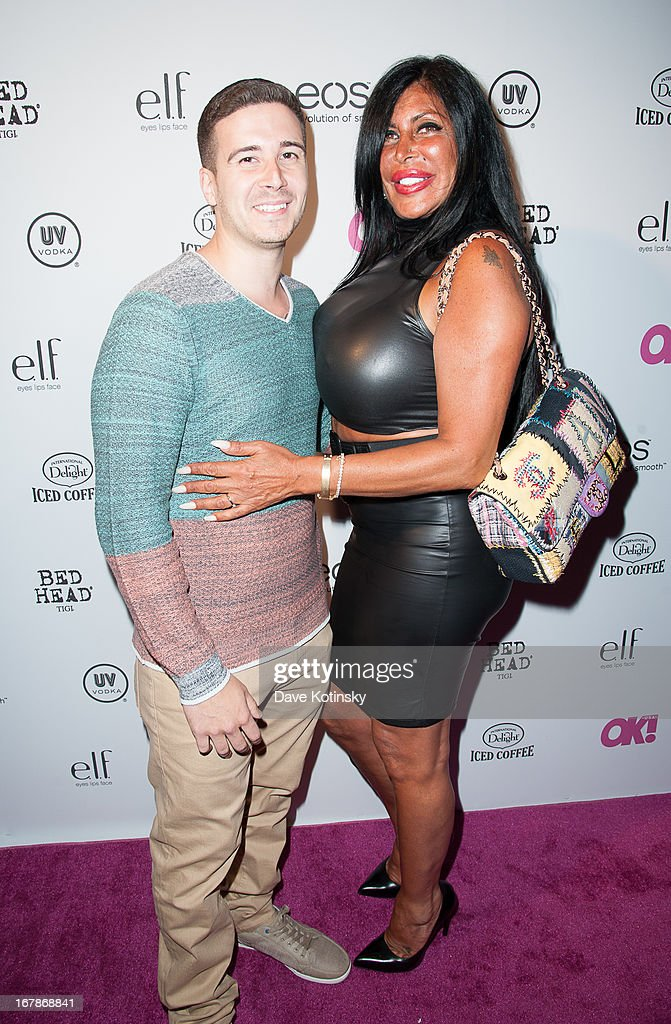 <a gi-track='captionPersonalityLinkClicked' href=/galleries/search?phrase=Vinny+Guadagnino&family=editorial&specificpeople=6693900 ng-click='$event.stopPropagation()'>Vinny Guadagnino</a> and TV personality Angela '<a gi-track='captionPersonalityLinkClicked' href=/galleries/search?phrase=Big+Ang&family=editorial&specificpeople=8749866 ng-click='$event.stopPropagation()'>Big Ang</a>' Raiola attends OK! Magazine 'So Sexy' Party at Marquee on May 1, 2013 in New York City.