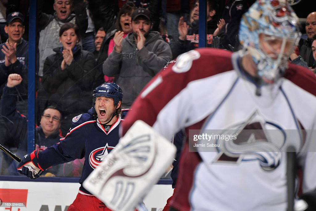 Vinny Prospal #22 of the Columbus Blue Jackets celebrates his third period power play goal on goaltender <a gi-track='captionPersonalityLinkClicked' href=/galleries/search?phrase=Semyon+Varlamov&family=editorial&specificpeople=6264893 ng-click='$event.stopPropagation()'>Semyon Varlamov</a> #1 of the Colorado Avalanche on March 3, 2013 at Nationwide Arena in Columbus, Ohio. Columbus defeated Colorado 2-1 in overtime.