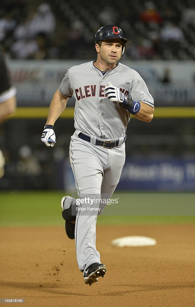 Vinny Rottino #25 of the Cleveland Indians rounds the bases after hitting a solo home run against the Chicago White Sox during the eighth inning at U.S. Cellular Field on September 26, 2012 in Chicago, Illinois. The Indians defeated the White Sox 6-4.