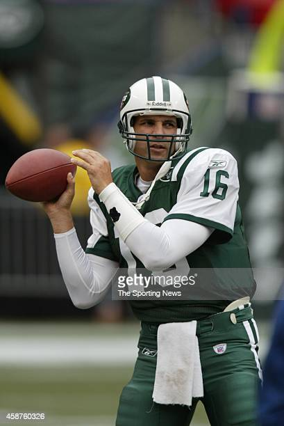 Vinny Testaverde of the New York Jets throws a pass during warm ups before a game against the Tampa Bay Buccaneers on October 09 2005 at the...