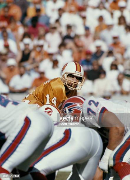 Vinny Testaverde Quarterback for the Tampa Bay Buccaneers calls the play against the Buffalo Bills during their National Football Conference East...