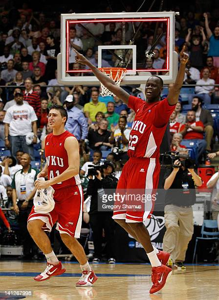 Vinny Zollo and Teeng Akol of the Western Kentucky Hilltoppers celebrate the Hilltoppers 5958 victory against the Mississippi Valley State Delta...