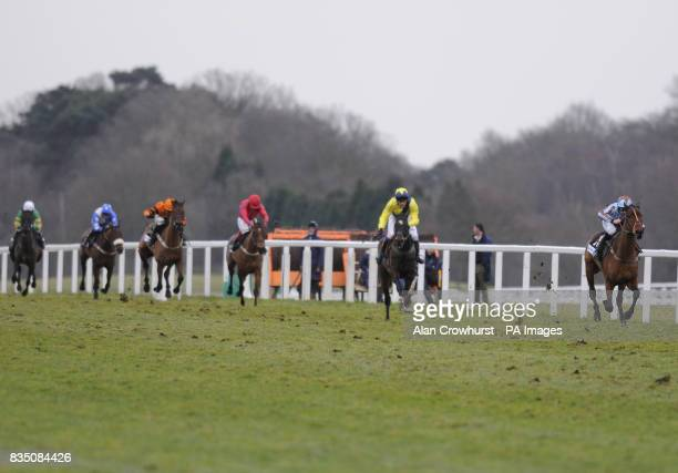 Vino Griego and Jamie Moore easily win The Gardiner Theobald Standard Open National Hunt Flat Race during the Betfair Ascot Chase Day at Ascot...