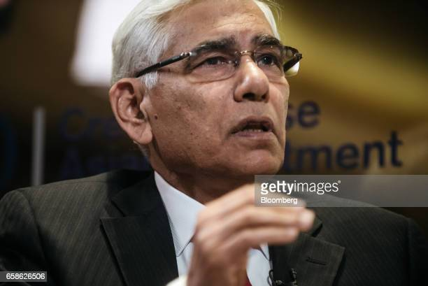 Vinod Rai chairman of the India Banks Board Bureau speaks during a Bloomberg Television interview at the Credit Suisse Asian Investment Conference in...