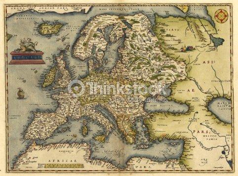 Vintage 16th Century Europe Map Stock Photo Thinkstock