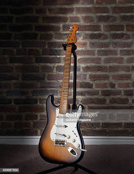 A vintage 1954 Fender Stratocaster electric guitar photographed at Guitars The Museum in Umea Sweden on February 1 2014