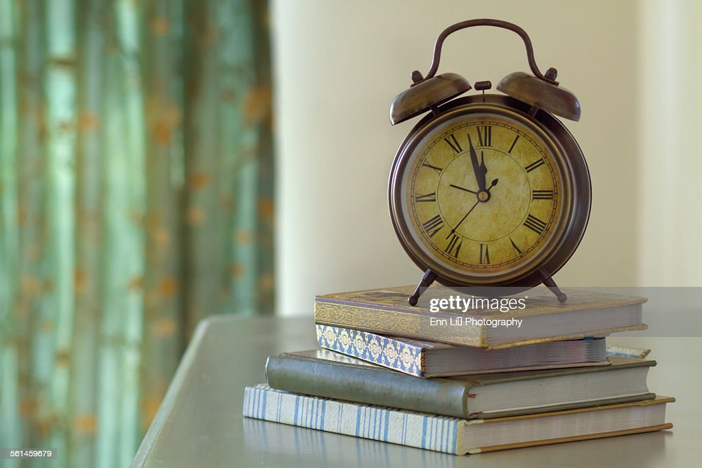 vintage alarm clock stock photo
