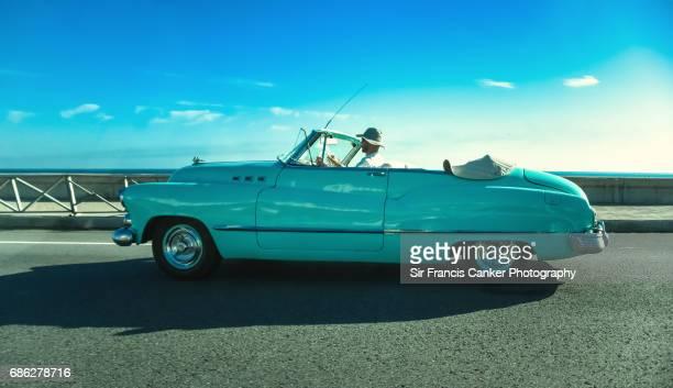 Vintage American car along Havana's Malecon, Cuba