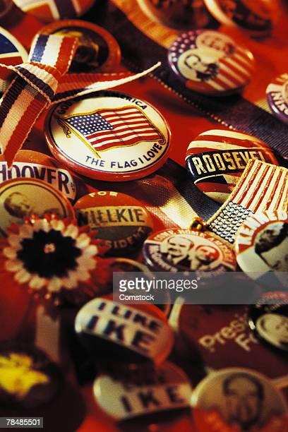Vintage American patriotic and political pins