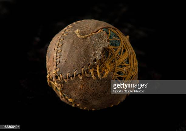 Vintage Antique Baseball Early turn of the century lemon peel style baseball Features leather exterior with broken seams