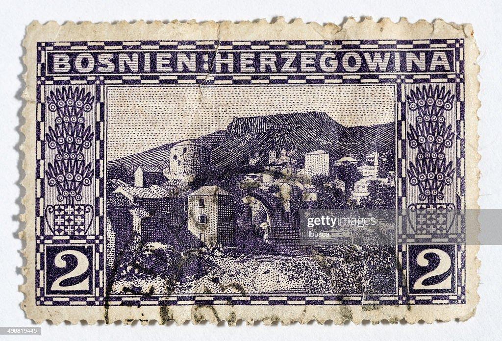 Fair enjoyed Vintage postage stamp bak ağzındaki