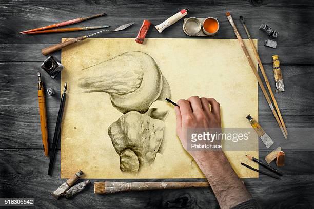 Vintage de artista equipos de escritorio y dibujo a mano