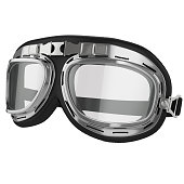 Old leather race goggles. Pilot goggles. White background