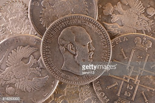 Vintage background coin silver ruble Russian Alexander III : Foto de stock