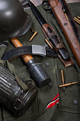 a vintage background with german army field equipment. ww2