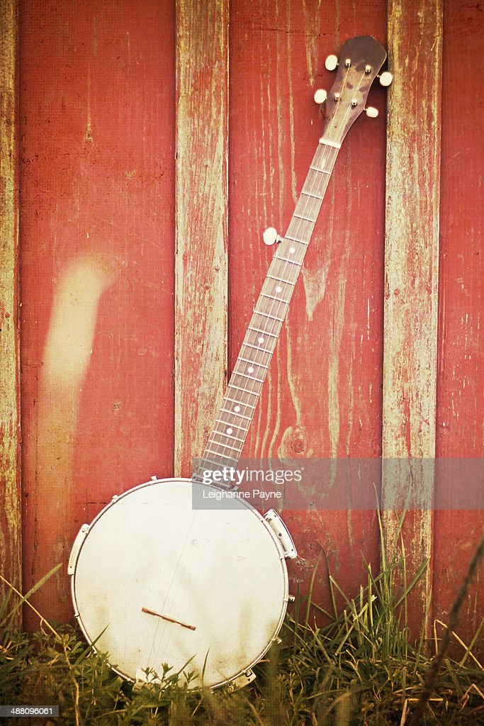 Vintage Banjo Leaning Against Barn