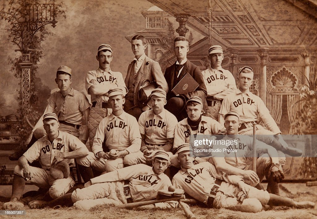 Vintage Baseball Team Photo. 1895 Colby College of Waterville, Maine baseball team photo. Posed in victorian photo studio with lots antique baseball equipment and in period uniforms.