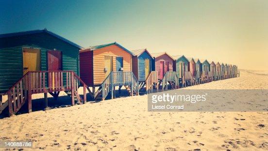 Vintage beach huts : Stock Photo